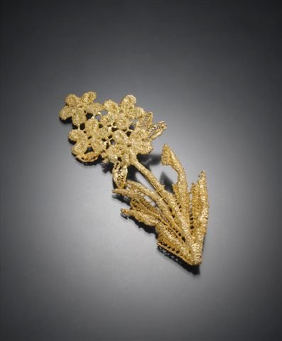 Brooch.  925 Silver, gold plated.